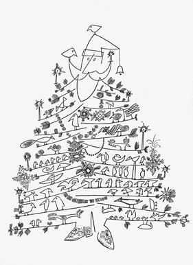 black and white christmas tree vintage