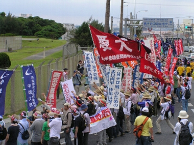 Workers from trade unions and Zengakuren students protesting a US base on May 14, 2006, in Okinawa, the southernmost island of Japan, 20 percent of which is occupied for the US military presence.