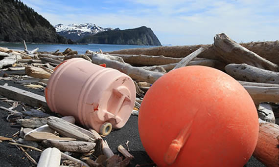 Plastic waste on Alaska beach