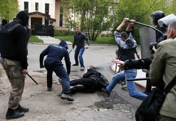 pro-unity march in Donetsk attacked by thugs